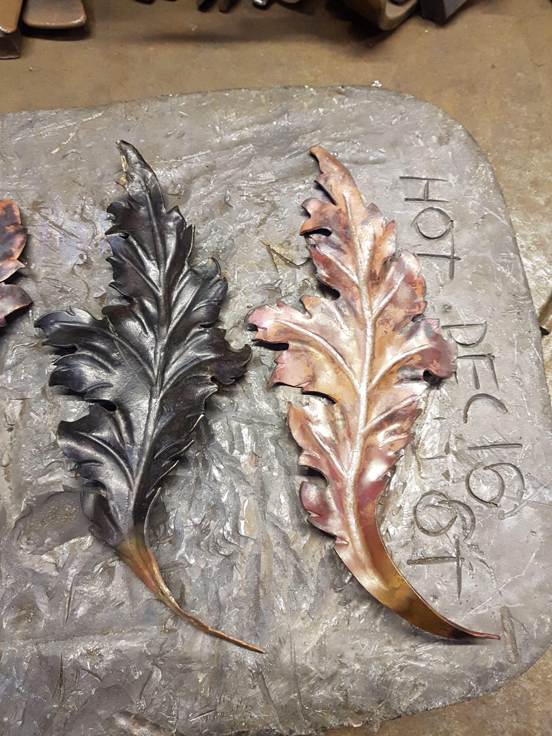 Repoussé copper leaves